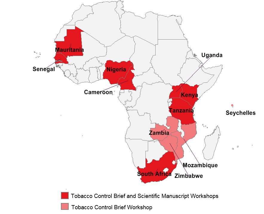 Countries represented at the two-part regional workshop to improve research and science capacity in the WHO Africa region.