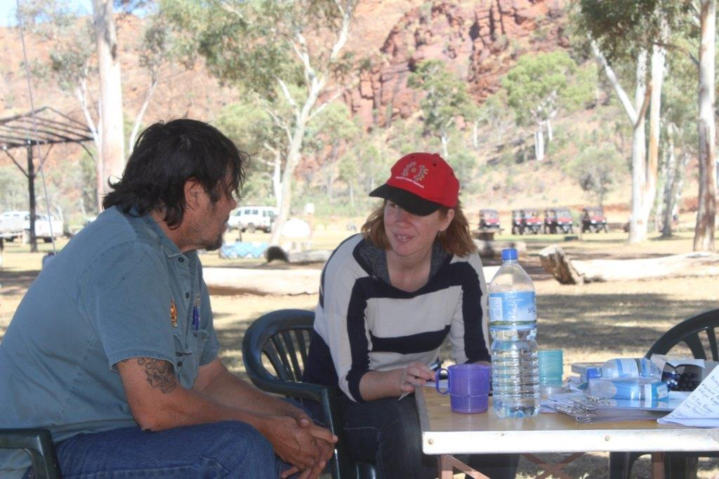 Project leader Allyson Wright surveys a community member in Central Australia.
